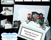 Christmas Gnomes - 3D Pop-Up Box Card Kit With Assorted Greetings & Matching Envelope PU 300 DPI