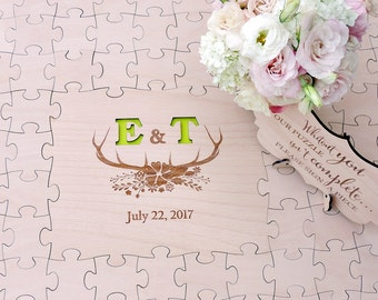 Wedding Guest Book Puzzle, Puzzle Guest Book, Deer Puzzle, Deer Wood Puzzle Guestbook, Deer Wedding Guestbook - 100 pieces