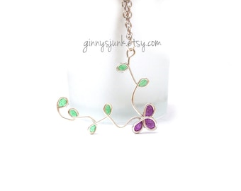 Purple Flower Necklace - Wire and Paper - 17 inch necklace
