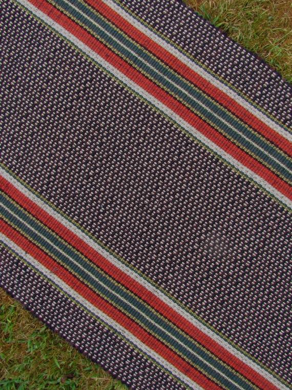 handwoven rag rug runner farm house stripe wool and