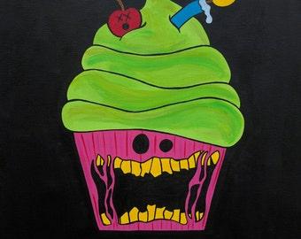 Zombie Cupcake Art, Zombie Cupcake Painting, Cupcake Horror Art, Horror Painting, 12x12 Inch Painting, Cute Cupcake Art, Dead Cupcake Art