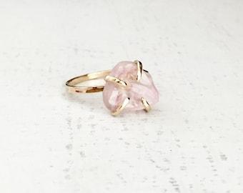 Rose Quartz Ring, Rose Quartz Engagement Ring, Gold Ring, Rose Gold Ring, Rose Quartz Jewelry, Anniversary Ring, Promise Ring