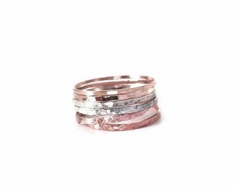 Rose Gold Ring, Stackable Ring, Stacked Ring, Mixed Ring, Rose Gold, Gold Ring, Sterling Silver Ring - set of 6, Hammered Ring