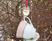 Tea Cup Bird Feeder with Hand Stamped Bent Spoon- Happy Hour