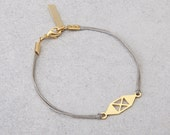 delicate cute bracelet, geometric pendant on a waxed cotton thread. Black and silver or Grey and Gold. Holiday gift