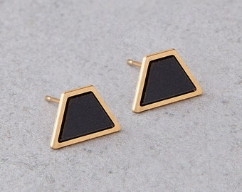 stud earrings, gold\ silver trapezoid post earrings, Christmas gift, Geometric earrings integrated with gray or black Formica.