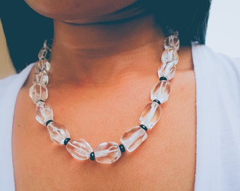Crystal black and white beaded necklace