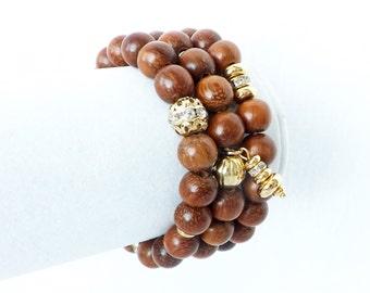 Wood Bracelets, Brown Wood Bracelets, Bracelet Stack, Wood Gold Bracelets, Stretch Bracelets, Stacking Bracelets, Bracelet Set, Boho Jewelry