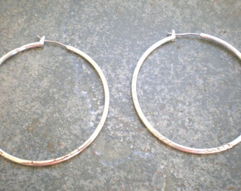 Vintage Sterling Hoops Large Etched Pierced