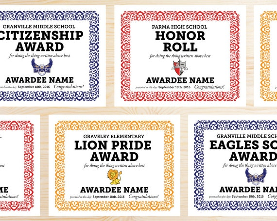 Your Mascot Editable School Award Certificates Printable Pdf