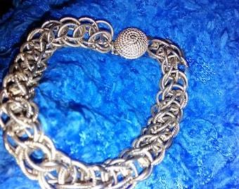 Herringbone Woven  Design Gold Tone Bracelet