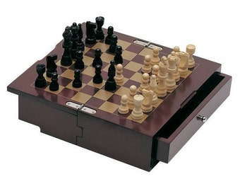 Engraved Chess & Checkers Set in Wooden Case
