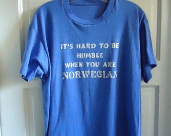 Vintage 80s NORWEGIAN Pride T Shirt sz M