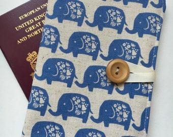 Passport cover case cute elephant walk blue fabric wooden button elephant inner pockets