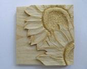 Sunflower Sunflower Wall Decor Sunflower Carving Wood Sculpture Art OOAK Gift Hand Carved Anniversary Gift for the Gardener Gift Wall Art