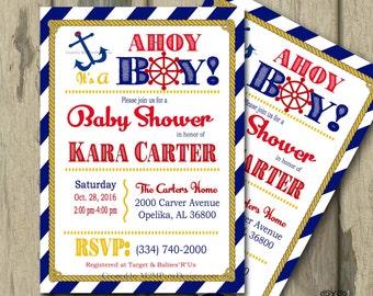 Nautical Baby Shower Invitation Printable Anchor Boy Print at Home