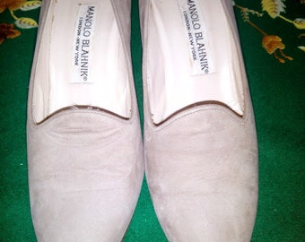 free shipping MANOLO BLAHNIK suede shoes size 37 made in France circa 1990
