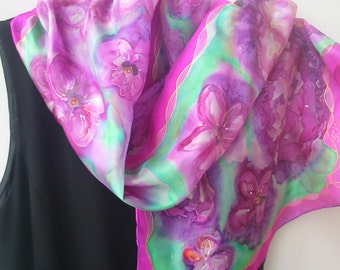 Hand Painted silk Scarf.  Painted Lilac, Mauve, Purple, Mint, Green. OOAK Fashion Scarf. 14 x 50 inch  Art Scarf painted by Sirje