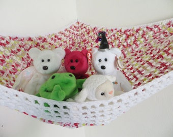 Crochet toy net hammock in pink white and green variegated yarn with white trim, stuffed animal storage for girls room MADE TO ORDER