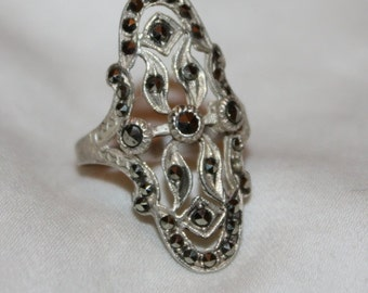 Valentines Sales Vintage Art Deco Ring, Sterling Silver Marcasite Ring, Engagement Promise Ring, Boho Statement Ring,  1940s  Jewelry