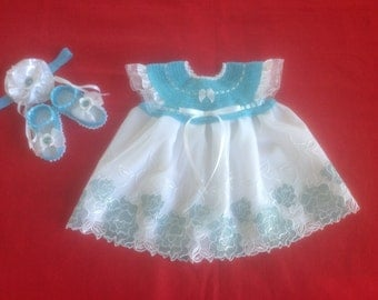 Handmade Crochet Newborn Baby Girl Dress Set - Aqua Blue & White