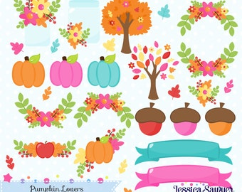 INSTANT DOWNLOAD, fall clipart and pumpkin vectors for crafts and products