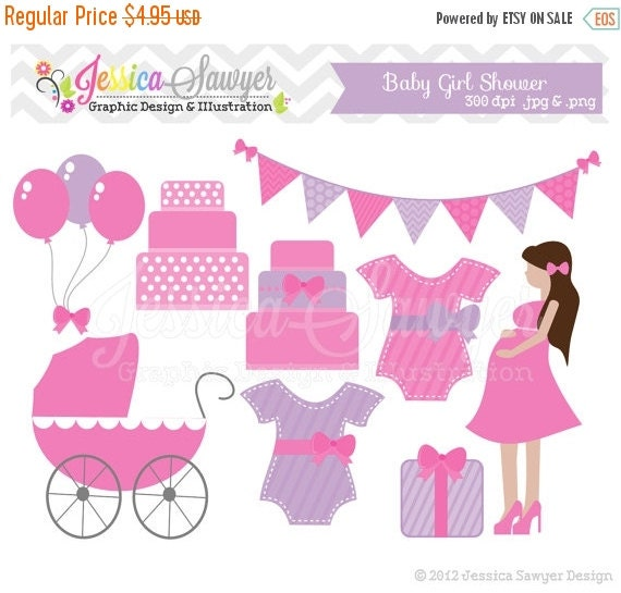 80% OFF - INSTANT DOWNLOAD - baby shower clip art, baby girl clipart, for cards, invitations, embroidery, commercial use ,