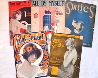 Vintage Sheet Music Lot Ladies For Artwork Collage
