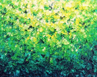 Abstract Expressionism Modern Art Print, Green Abstract Impressionist Art, Colorful Green Yellow Wall Decor Ideas, Green Art, 5x7, 11x16