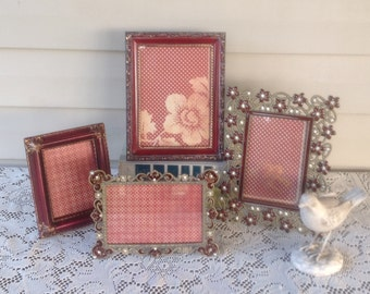 Eclectic Collection of Embellished Deep Red Picture Frames - Set of 4 Table Top Frames - Filigree Metal Frames - 5x7 4x6