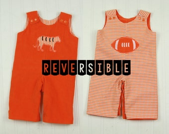 Reversible Clemson Tigers Romper - Baby Boy Clemson Football Outfit - Boys Gingham Corduroy Football Longall - Clemson Overalls for Baby