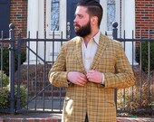 Plaid Jacket 1960s Vintage Blazer Mens 42 L Classic 60s Skinny Lapels Sheer Summer Wool Earthy Gold Green Brown Light Weight Sport Coat USA