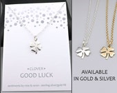 Clover Necklace - good luck - silver or gold - lucky charm necklace - shamrock - four leaf clover - luck jewelry - good luck gift