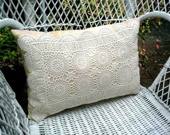 Vintage Doily pillow cover with taupe fabric under a vintage doily, striped taupe and white fabric reverse, zipper opening, cottage decor