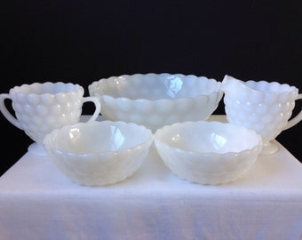 Ancho Hocking - Fire King - Bubble - White - Large and Small Berry Bowls - Cream and Sugar Six Pieces