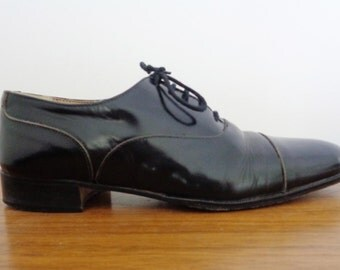 Gorgeous Genuine Leather Black PATENT Cap Toe OXFORDS, 8 to 8.5 women's, 7 men's