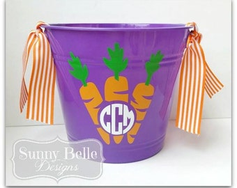 Personalized Easter Bucket; Carrots