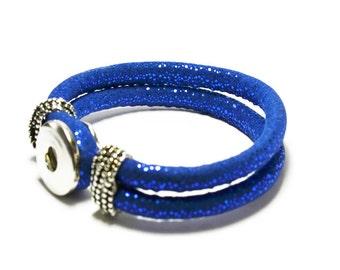 Electric Blue PU  Leather Snap Bracelet