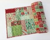 "Christmas Table Runner, Extra Long, 13""x52"", Evergreen Fabric Moda"