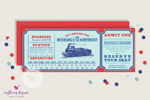 Vintage Train Invitation Train Ticket Invitation Train Birthday