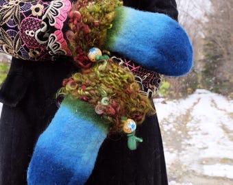Blue gloves Wool mittens Blue felted mittens Wool gloves Blue mittens Felted gloves Adult mittens Woman gloves Warm mittens Winter gloves