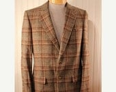 50% Off Valentines Sale Mens Vintage Christian Dior Wool Blazer Jacket Brown Tan Plaid Wool Tweed sz 38 Sport Coat