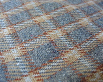Vintage double knit polyester fabric grey plaid 1 yard 21 inches 64 inches wide