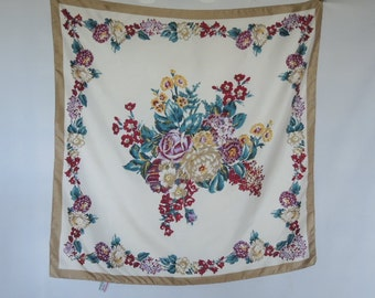 Vintage 1970s Morsly scarf silk like polyester floral flowers 28 x 28 inches