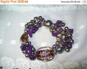50% OFF Art glass bead bracelet, purple beaded bracelet, flower bracelet
