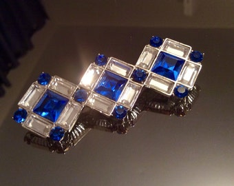 Yves Saint Laurent Made in France Vintage Blue & Clear Swarovski Crystal brooch pin