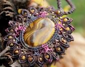 mandala pink tiger eye necklace