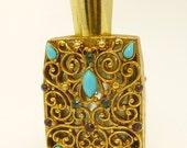 Vintage Florenza Rhinestone Perfume Bottle Mini Jeweled Perfume