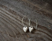 Silver Heart Dangle Earrings Silver Heart Drop Earrings Casual Earrings