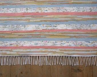 8x10 Rag Rug / Coral, Blue, Tan, Olive, Floral Stripes